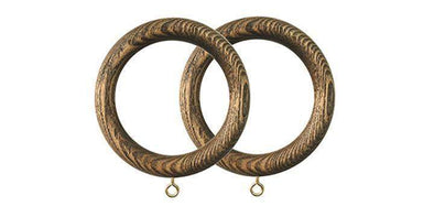 Jones Oakham 50mm Light Oak Curtain Rings (Pack of 4)-Curtain Poles Emporium