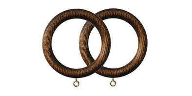 Jones Oakham 50mm Mid Oak Curtain Rings (Pack of 4)-Curtain Poles Emporium