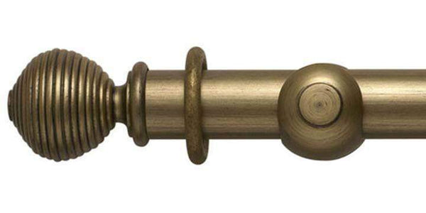 Modern Country 45mm Black Gold Curtain Pole Ribbed Ball Finial - Curtain Poles Emporium