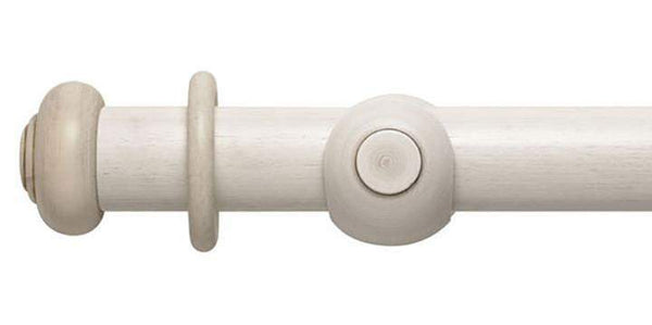 Modern Country 45mm Brushed Ivory Curtain Pole Button Finial - Curtain Poles Emporium