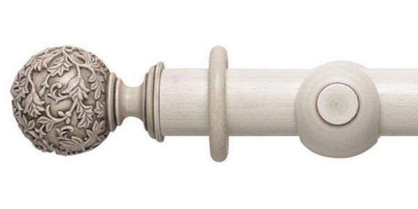 Modern Country 45mm Brushed Ivory Curtain Pole Floral Ball Finial - Curtain Poles Emporium