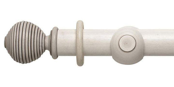 Modern Country 45mm Brushed Ivory Curtain Pole Ribbed Ball Finial - Curtain Poles Emporium