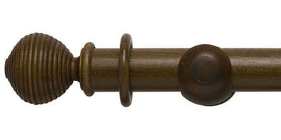 Modern Country 45mm Dark Oak Curtain Pole Ribbed Ball Finial-Curtain Poles Emporium