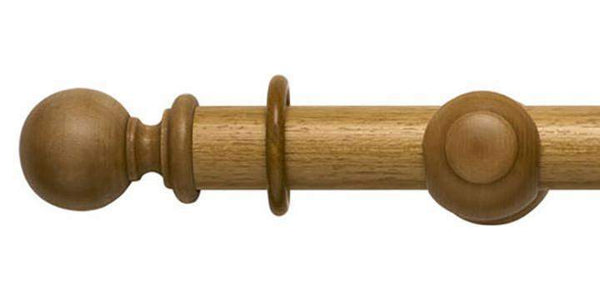Modern Country 45mm Light Oak Curtain Pole Ball Finial-Curtain Poles Emporium