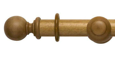 Modern Country 55mm Light Oak Curtain Pole Ball Finial-Curtain Poles Emporium