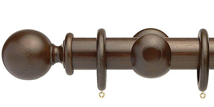 Opus Studio Natural Woodstain Walnut 48mm Wooden Curtain Pole Ball Finial