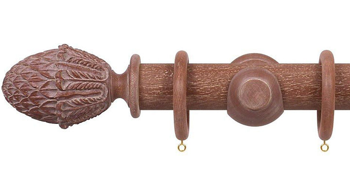Opus Studio Vintage Mahogany 48mm Wooden Curtain Pole Pineapple Finial