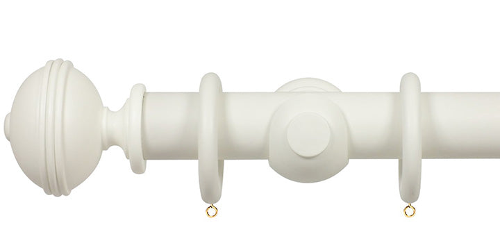 Opus Studio Painted Solid Colour Chalk White 35mm Wooden Curtain Pole Ribbed Finial
