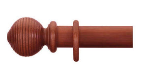Cameron Fuller 63mm Cherry Curtain Pole Ribbed Ball Finial - Curtain Poles Emporium