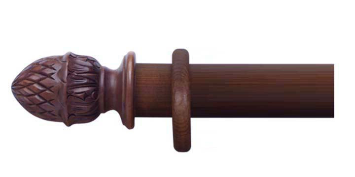 Cameron Fuller 35mm Mahogany Curtain Pole Pineapple Finial - Curtain Poles Emporium