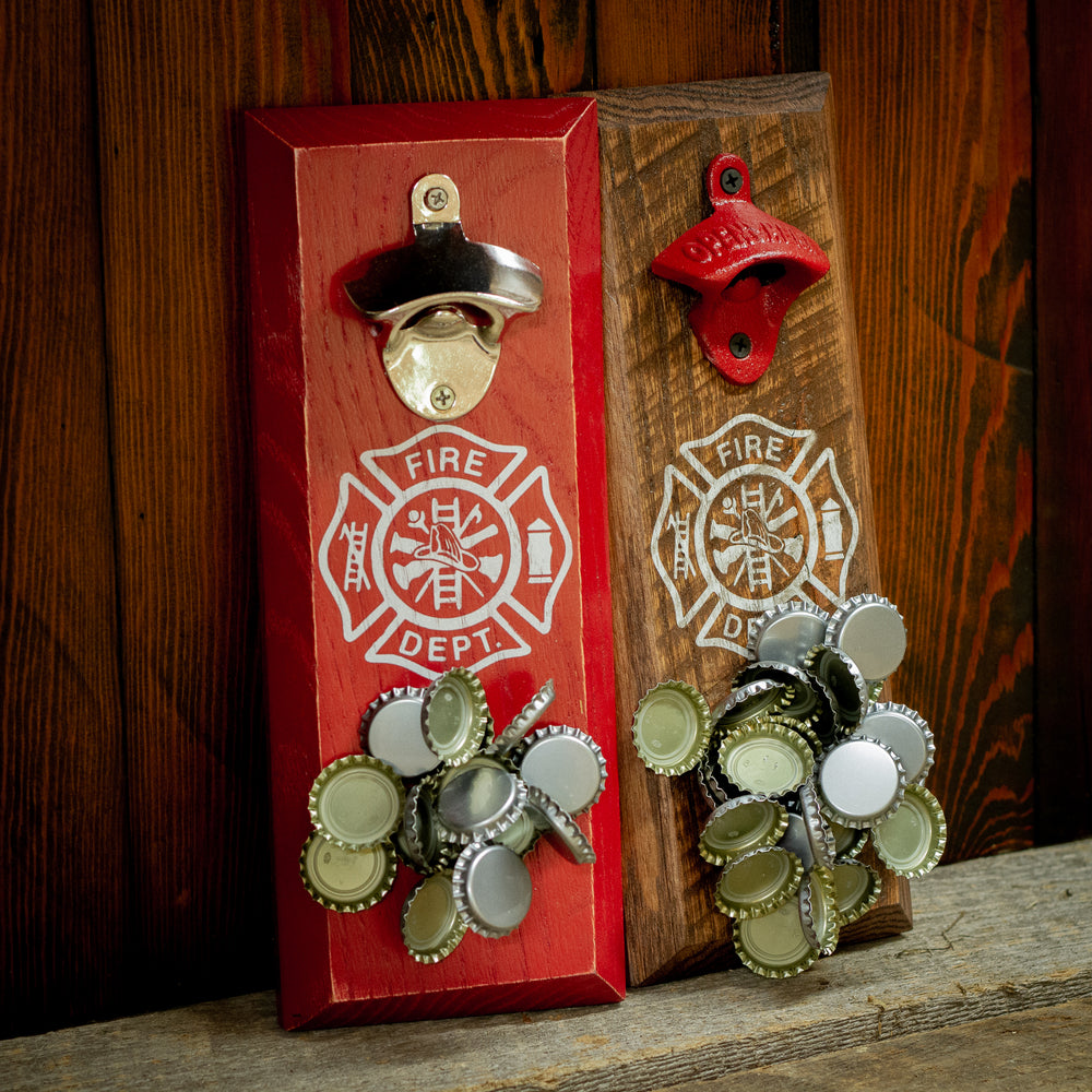 Load image into Gallery viewer, Fireman Shield Magnetic Bottle Opener