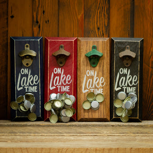 "Load image into Gallery viewer, ""On Lake Time"" Magnetic Bottle Opener"