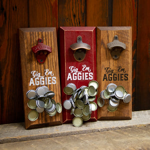 "Load image into Gallery viewer, Texas A&M University Aggies ""Gig 'em Aggies"" Magnetic Bottle Opener"