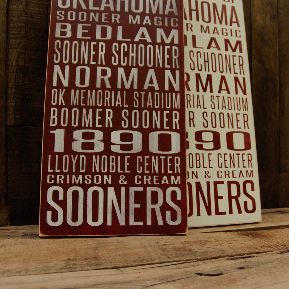 University of Oklahoma Sooners Distressed Wood Sign