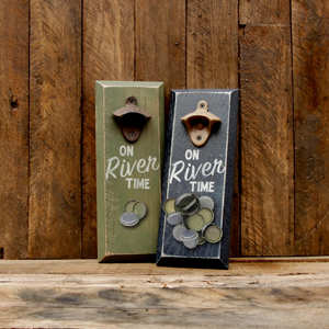 "Load image into Gallery viewer, ""On River Time"" Magnetic Bottle Opener"