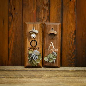 Load image into Gallery viewer, Single Letter Monogram with Name Magnetic Bottle Opener