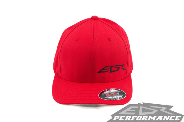 EDR, Performance, Red, Flexfit, Hat, with, Black, Solid, Logo