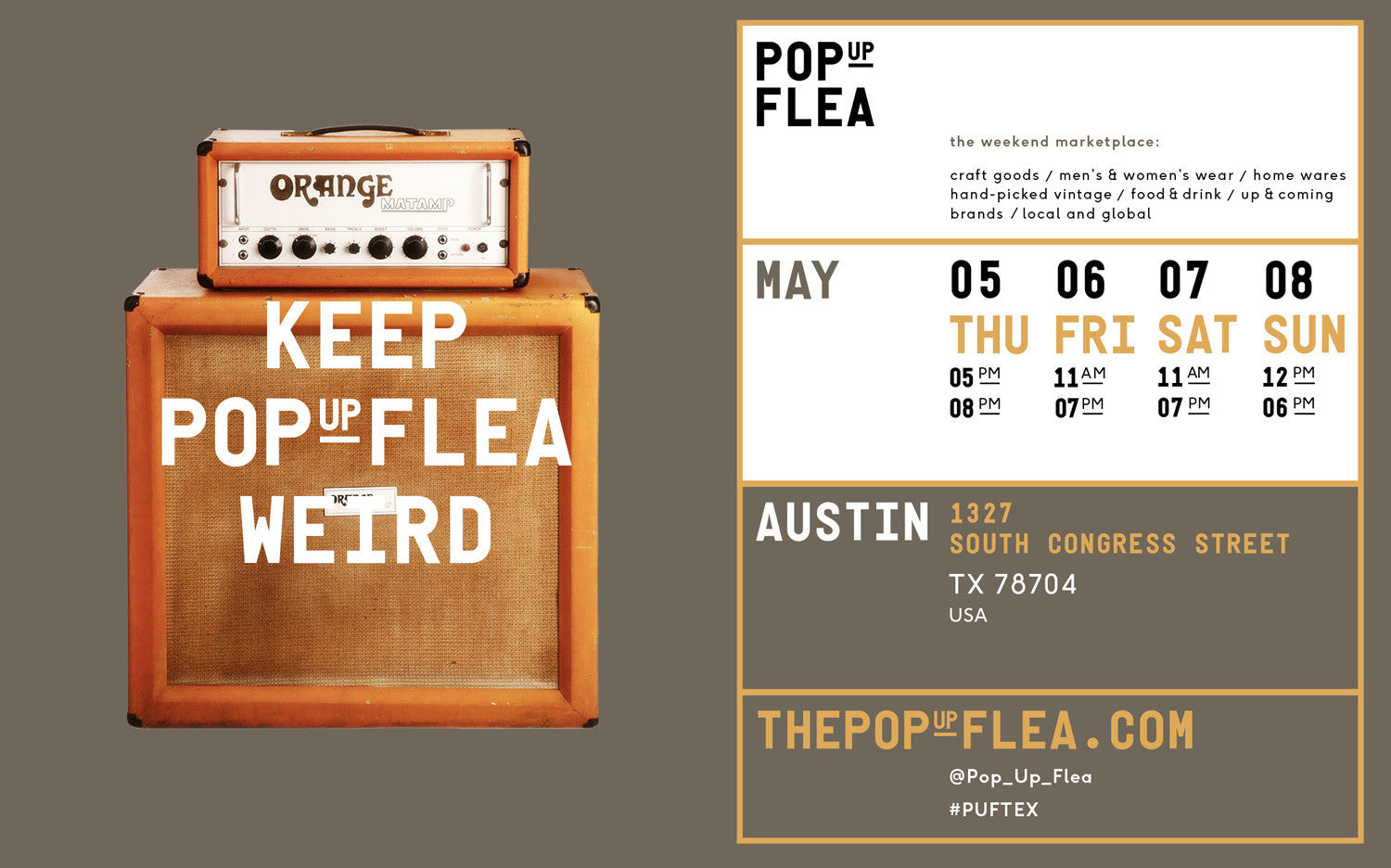 The Pop Up Flea / Austin Texas / May 5-8 / #PUFTEX