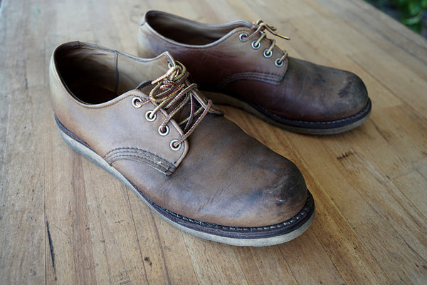 Red Wing Oxfords before cleaning and conditioning