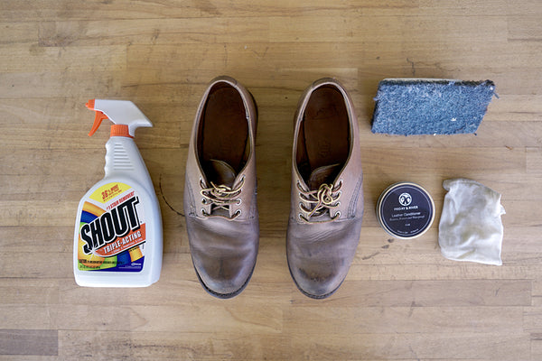 Red Wings with Cleaning Supplies and leather conditioner