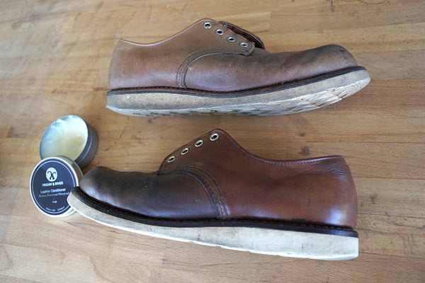 Red Wing Oxfords before and after leather conditioning