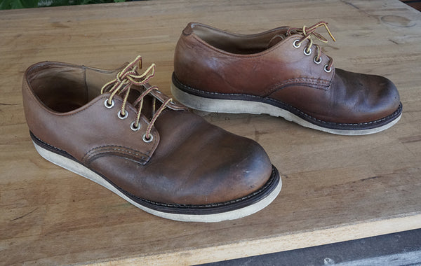 Red Wing Oxfords after cleaning and conditioning