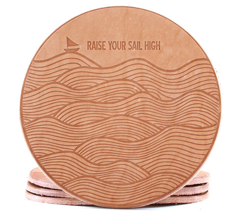 Embossed waves sail boat leather coaster
