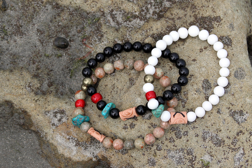 Friday and River Shores beaded stone bracelets Black Brown and White