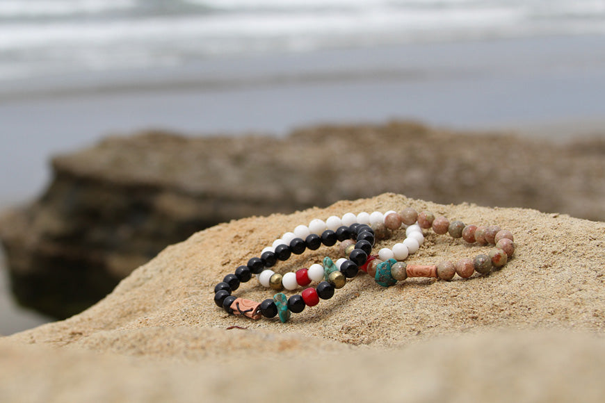 Mens round bead bracelets mixed stones