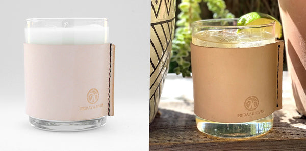 Yuzu leather wrapped soy candle and whiskey glass