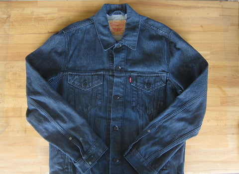 Indigo Levis denim trucker jacket waxed canvas