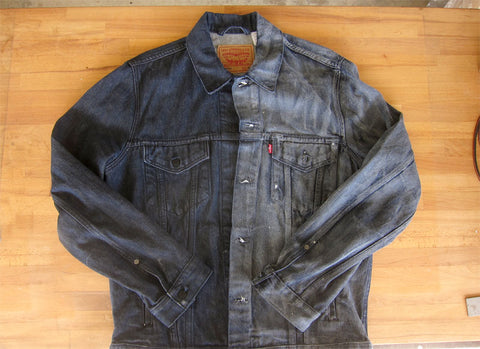 Waxed levi's denim jacket