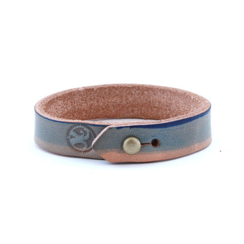 Hand Dyed Leather Stud Bracelet – Blue Natural 2