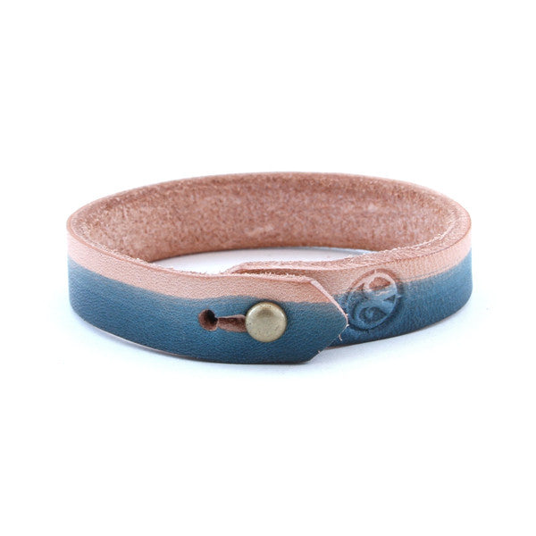 Hand Dyed Leather Stud Bracelet – Blue Natural 1