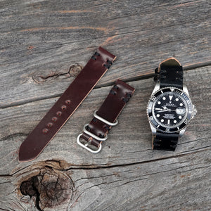 Black and burgundy shell cordovan watch bands with rolex submariner
