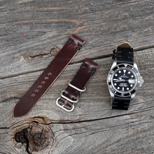 Load image into Gallery viewer, Black and burgundy shell cordovan watch bands with rolex submariner