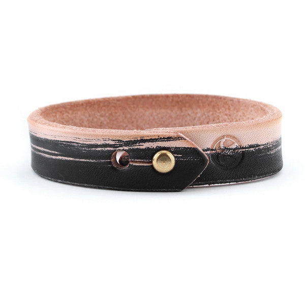 Veg Tan and Black Leather Cuff