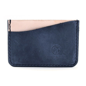 made in usa Indigo leather minimalist card wallet
