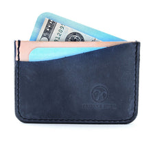 Load image into Gallery viewer, made in usa Indigo minimal leather card wallet with cards