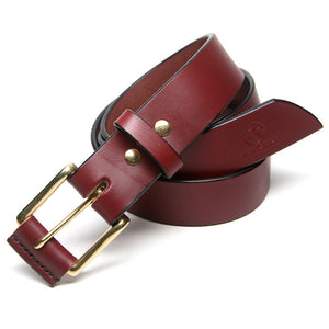 Custom Leather Belt Burgundy English Bridle Leather