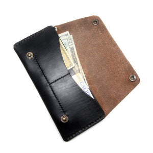 Black Leather Biker Wallet Open