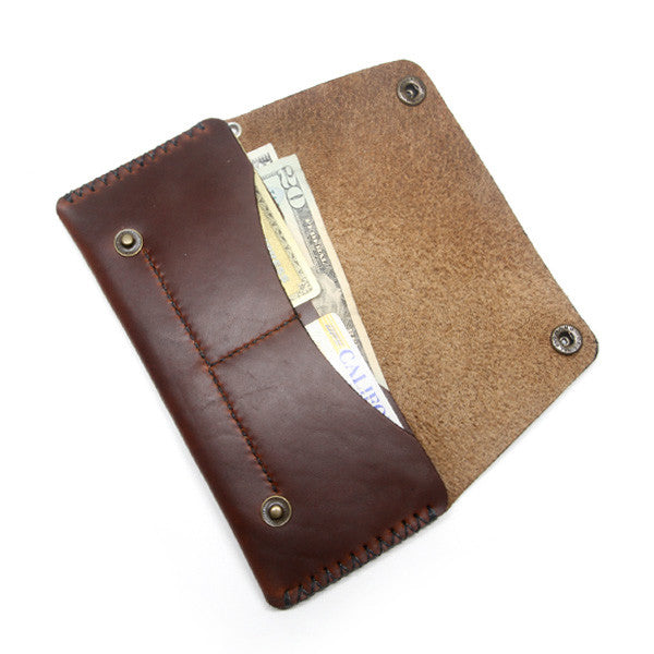 Brown Horween Long Biker Wallet Open