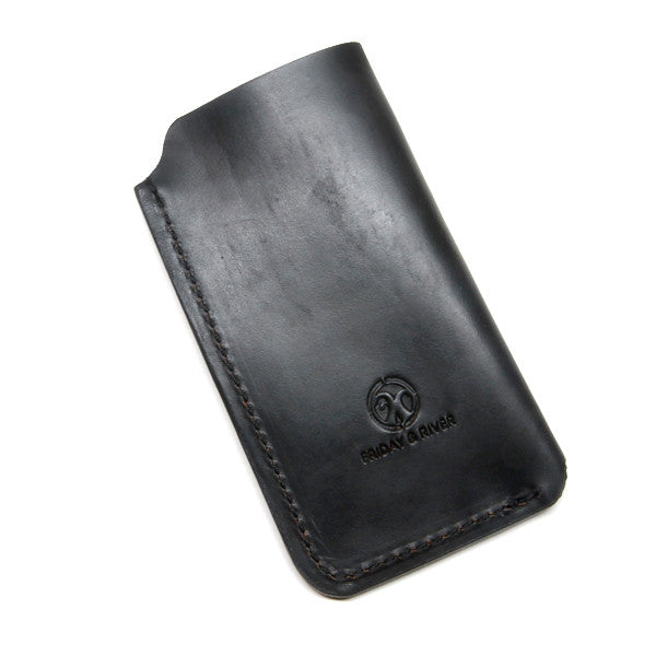 Black leather iPhone case, Horween Chromexcel