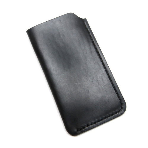 Black Leather iPhone Sleeve, Horween Chromexcel