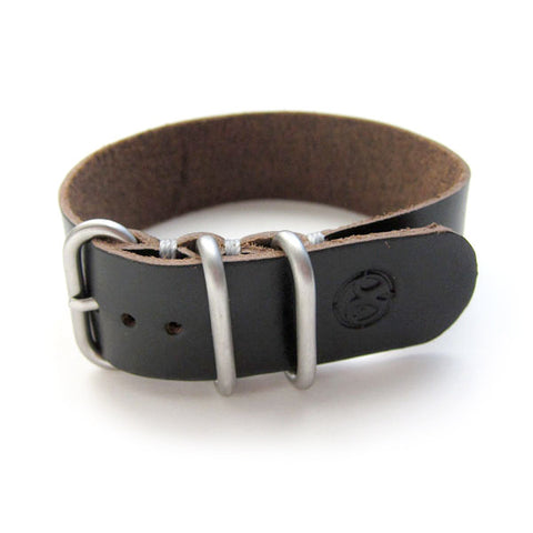 black english bridle leather nato watch band / strap
