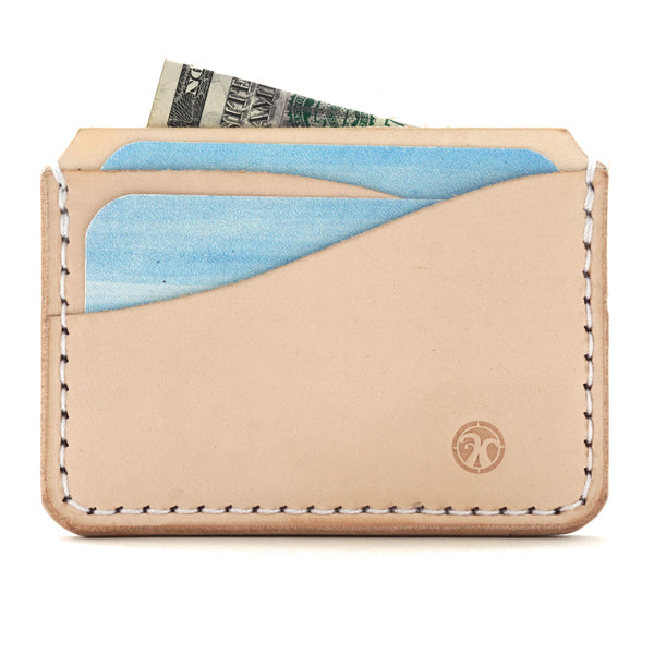 five pocket leather card holder with cards and bills