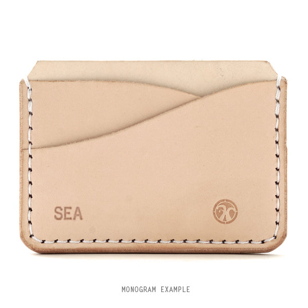 Free Monogram Natural veg tan card holder