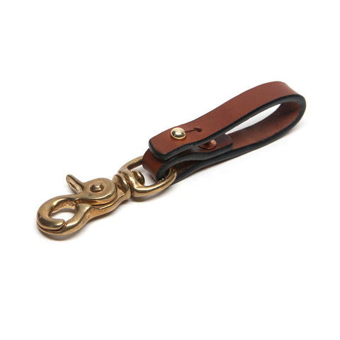 Saddle Tan Russet Brown Leather Key Belt Lanyard