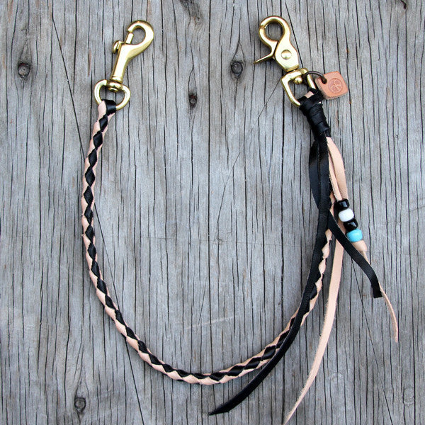 black and veg tan braided leather chain with beads
