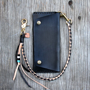 black veg tan round braid with black trucker wallet